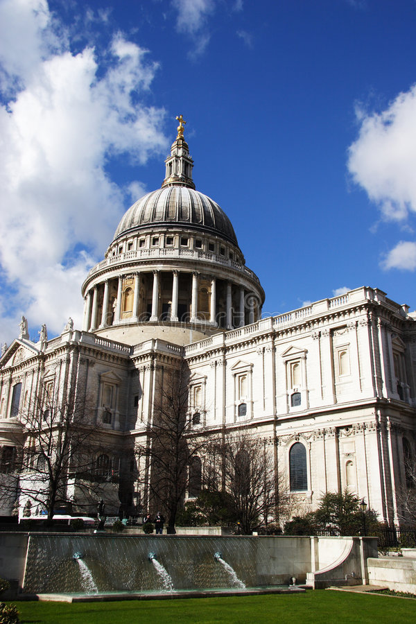 St Pauls with garden in foreground royalty free stock photo