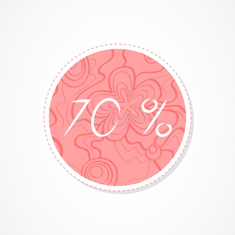 70 percent discounts inscription on decorative round backgrounds with abstract pattern. Hand drawn lettering. Vector illustration stock illustration