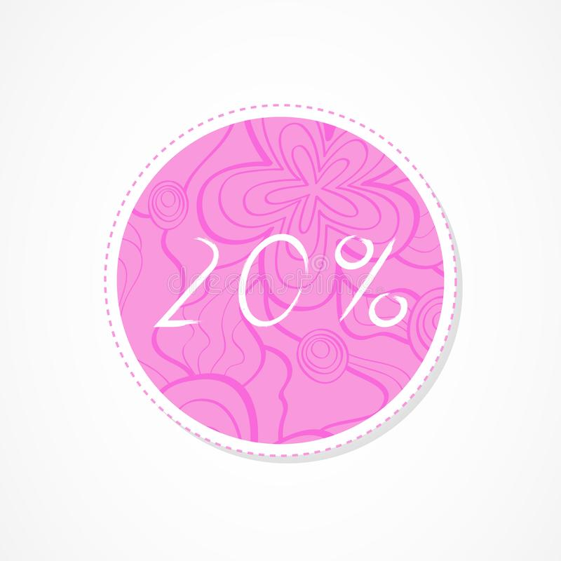 20 percent discounts inscription on decorative round backgrounds with floral pattern. Hand drawn lettering. Vector illustration royalty free illustration