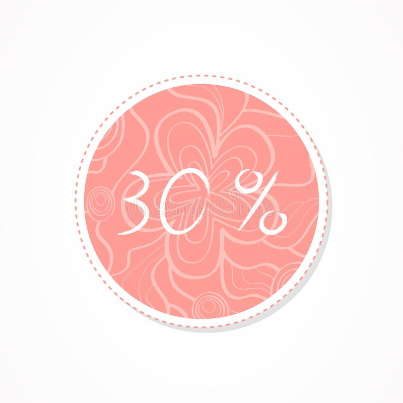 30 percent discounts inscription on decorative round backgrounds with floral pattern. Hand drawn lettering. Vector illustration royalty free illustration