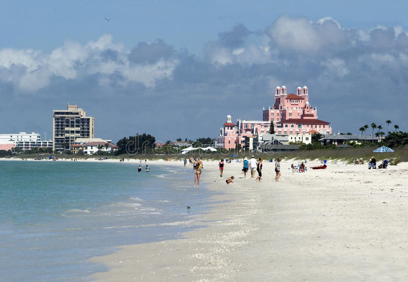 St. Pete Beach, Fl. Bathers enjoy the sand and surf along St. Pete Beach, Florida stock photography