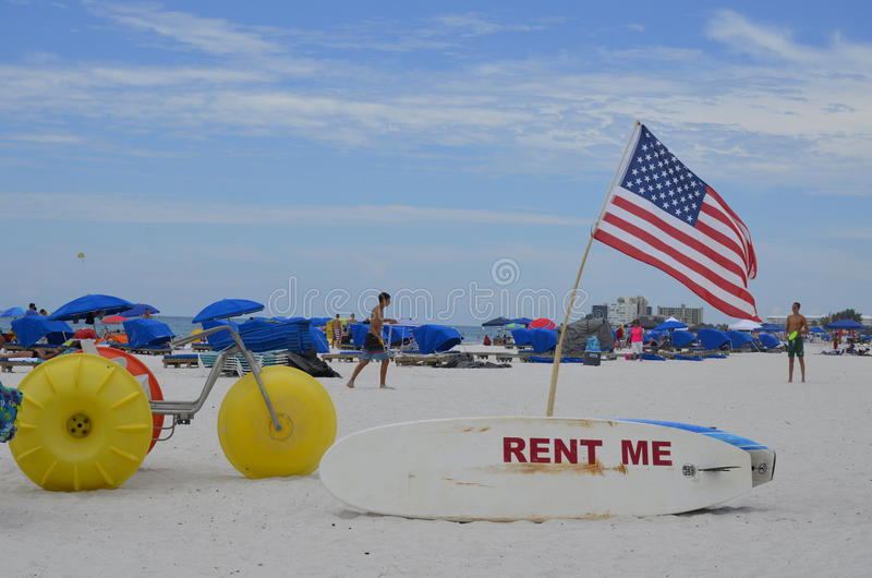 St. Pete Beach in St. Petersburg, Florida. Suncoast Watersports on St. Pete Beach in St. Petersburg, Florida. July 3rd stock photo