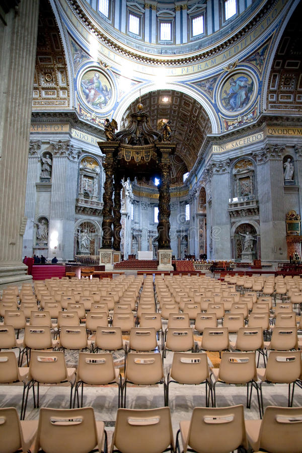 St.Peter Basilica and Bernini's baldacchino. Interior of St.Peter Basilica and Bernini's baldacchino, Vatican, Italy royalty free stock photo