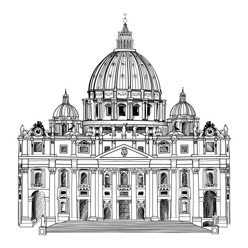 St. Peter Cathedral, Roma, Italia. Señal famosa. Etiqueta del viaje. stock de ilustración