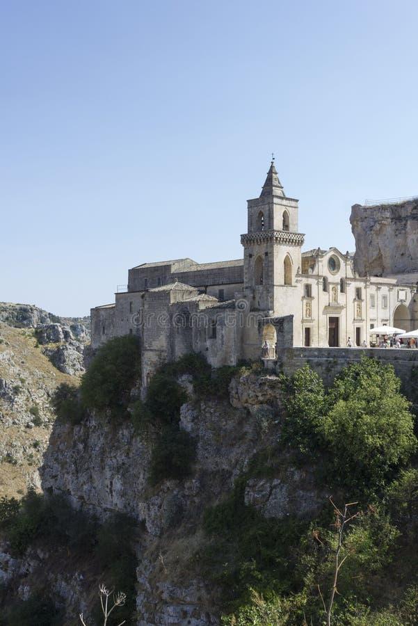 St.Peter Caveoso church on Matera rocky ravine royalty free stock photos