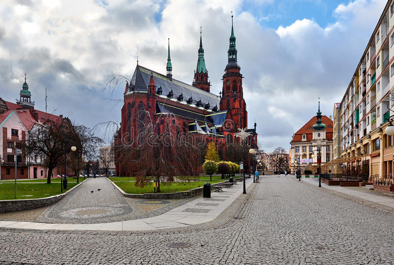 St Peter e san Paul Cathedral nella città di Legnica fotografia stock libera da diritti