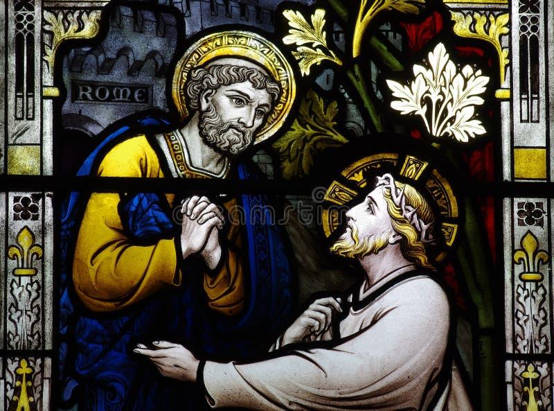 St Peter incontra Gesù (vetro macchiato) immagine stock libera da diritti