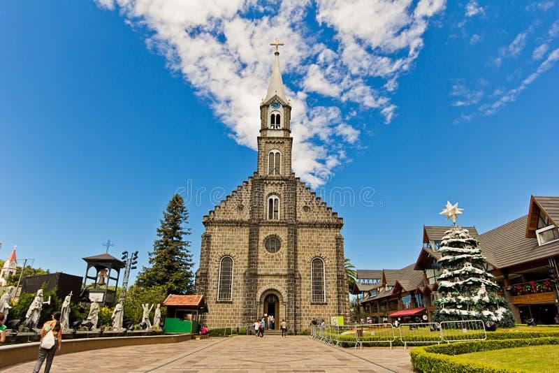 St Peter Kerk De Gramadostad, Rio Grande doet Sul - Brazilië stock foto