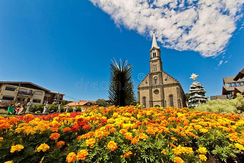 St Peter Kerk De Gramadostad, Rio Grande doet Sul - Brazilië royalty-vrije stock afbeelding