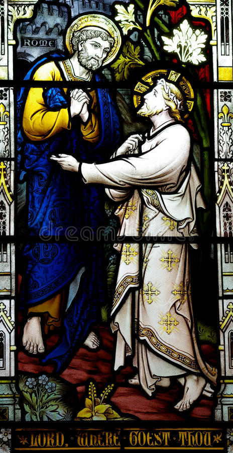 St. Peter meets Jesus (stained glass) stock photo
