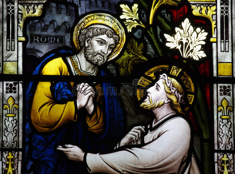 St. Peter meets Jesus (stained glass) royalty free stock image