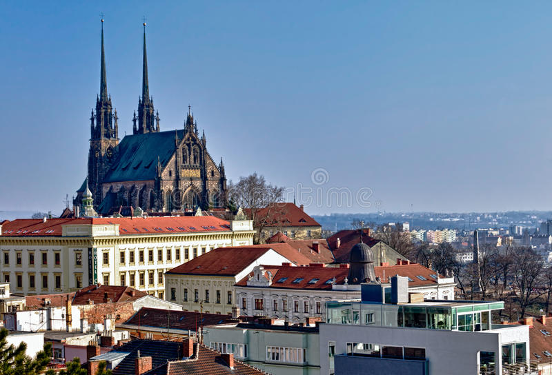 St. Peter and Paul Church In Brno. View of the St, Peter and Paul, Petrov, Cathedral in Brno, Czech Republic royalty free stock photos