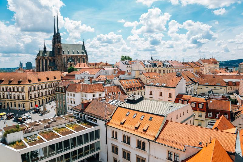 St. Peter and Paul`s Cathedral and cityscape from Old Town Hall tower in Brno, Czech Republic royalty free stock photos