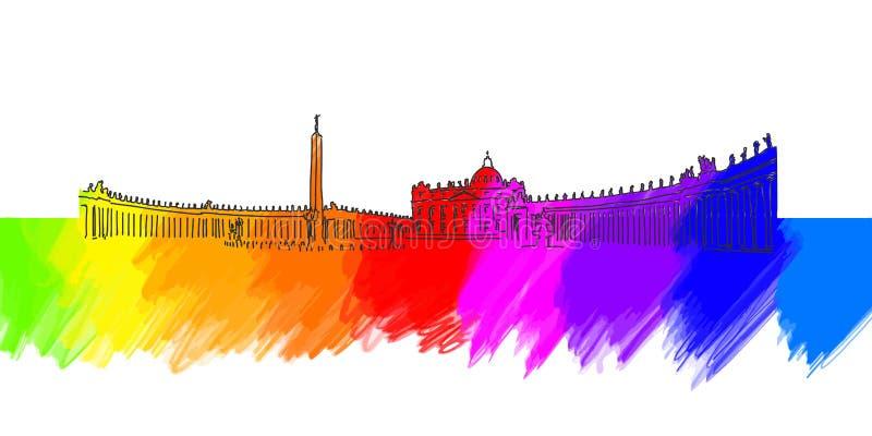 St Peter Place Banner de Vatican illustration de vecteur