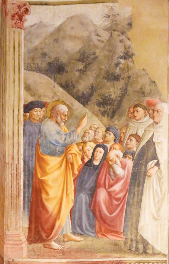 St Peter Preaching - affresco di rinascita fotografia stock