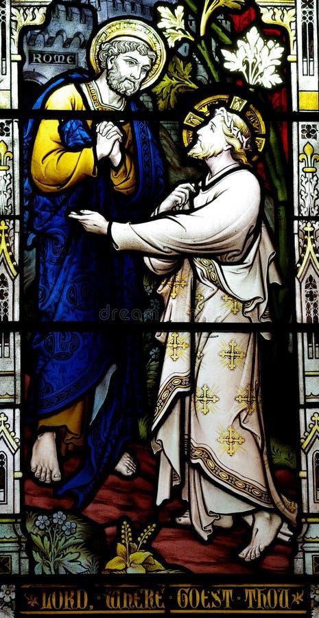 St Peter rencontre Jésus (le verre souillé) photo stock