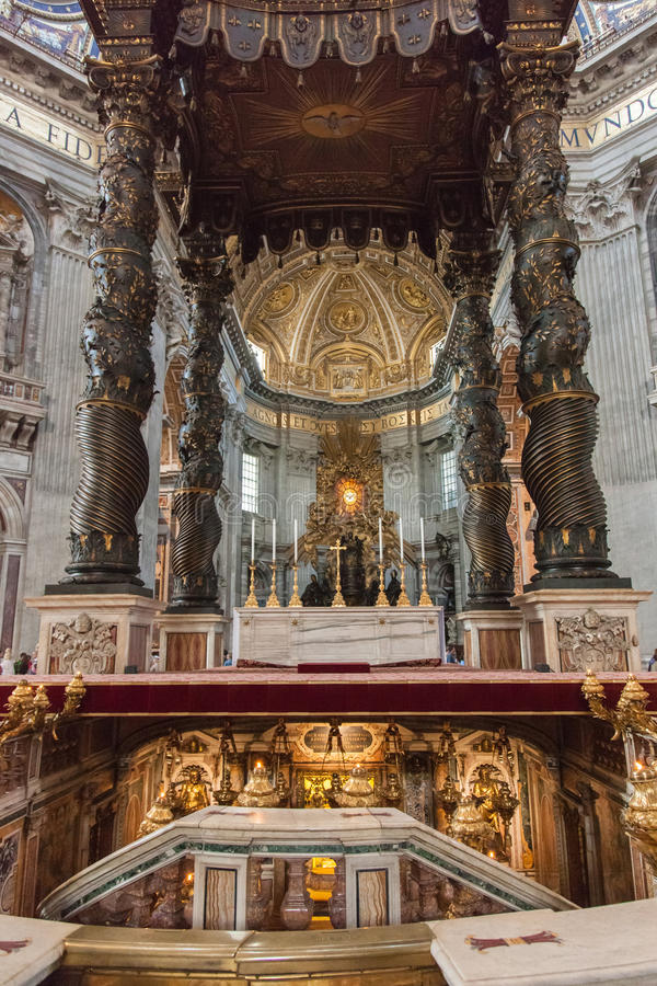 St. Peter's Basilica Baldacchino. Is a pavilion-like structure which stands beneath the dome and above the altar stock photos