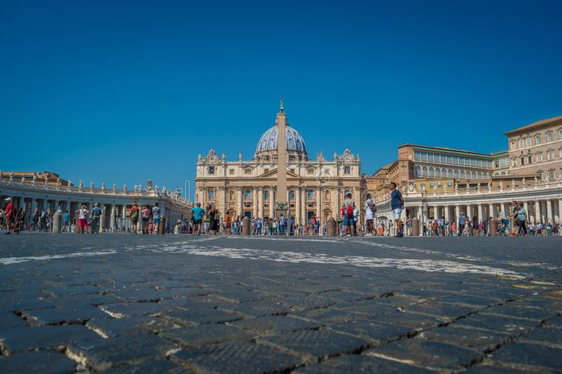 St. Peter`s Square in Vatican City. St. Peter`s Basilica and the Egyptian Obelisk in St. Peter`s Square in Vatican City royalty free stock images