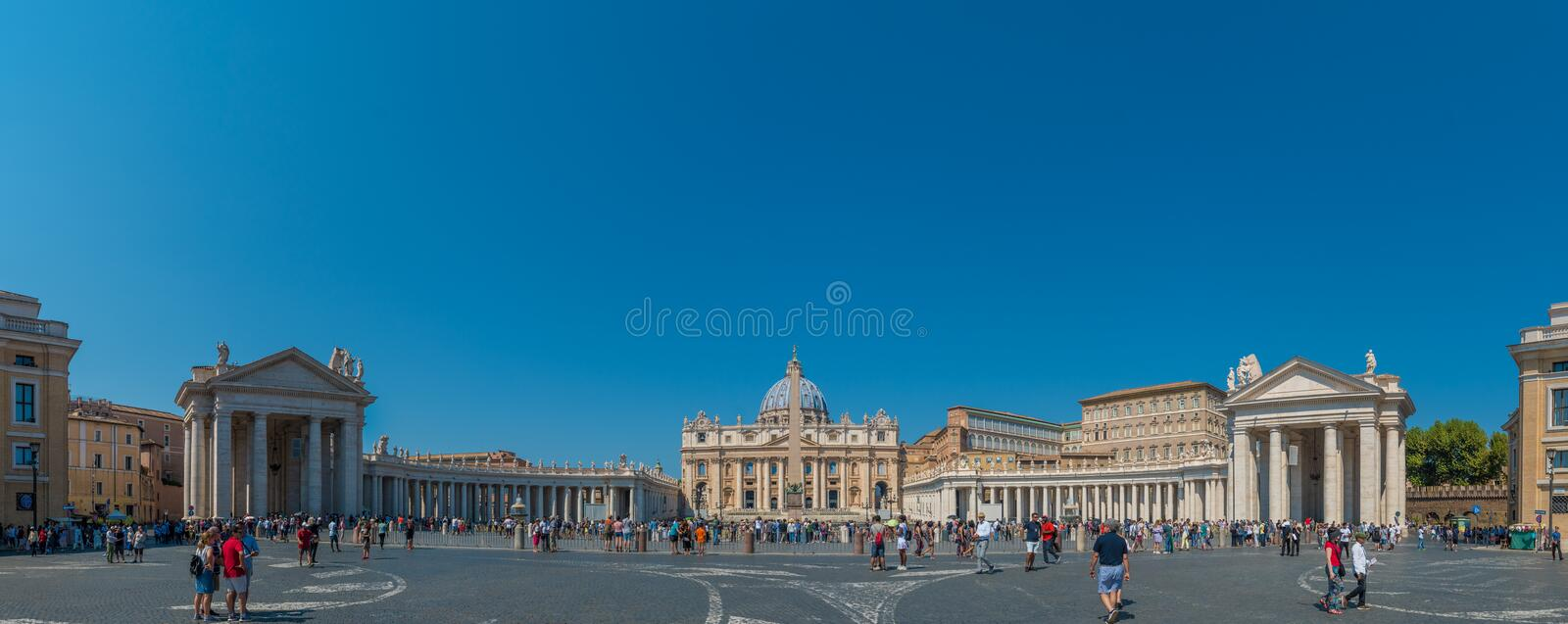 Panoramic of St. Peter`s Square in Vatican City. St. Peter`s Basilica and the Egyptian Obelisk in St. Peter`s Square in Vatican City stock images