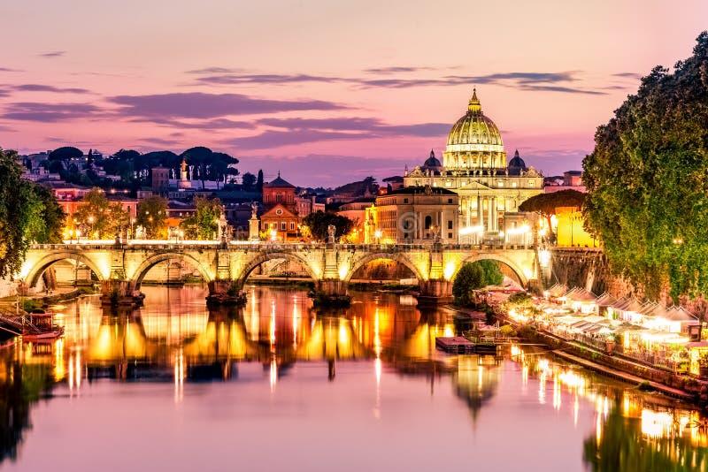 St. Peter`s Basilica from Ponte Umberto I stock photos