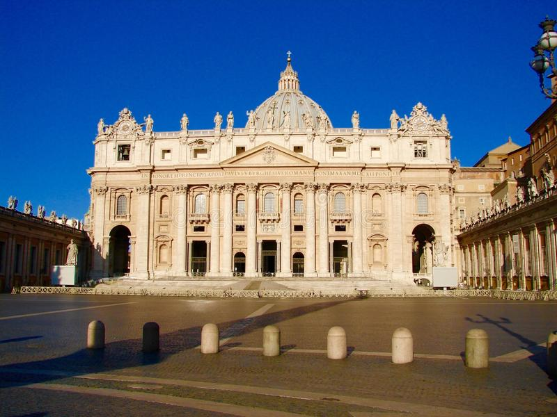 St. Peter's Basilica, Rome, Italy. The Papal Basilica of St. Peter in the Vatican, or simply St. Peter's Basilica, is a Late Renaissance church located within stock photo