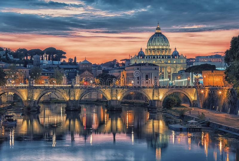 St Peter`s basilica in Rome. St Peter`s basilica in the Vatican viewed from a Rome bridge stock image
