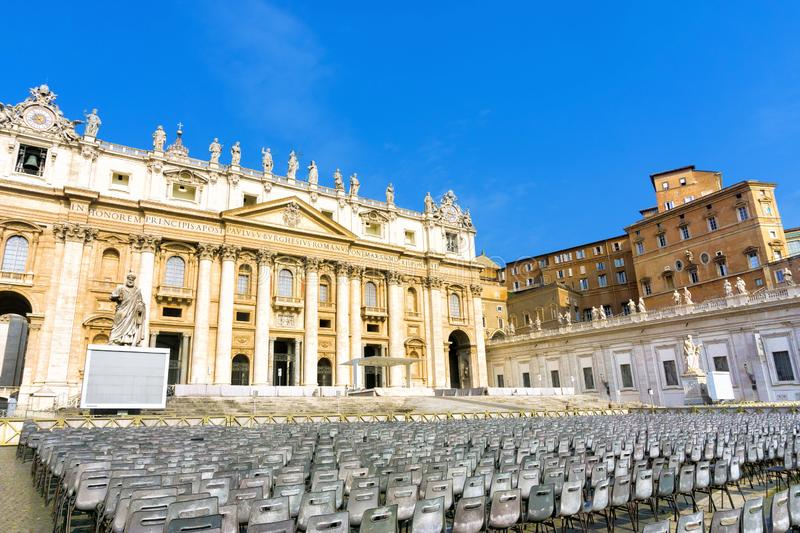 St. Peter`s Basilica Square in Rome, Italy. St. Peter`s Basilica Square in the Vatican City, Rome, Italy royalty free stock photo