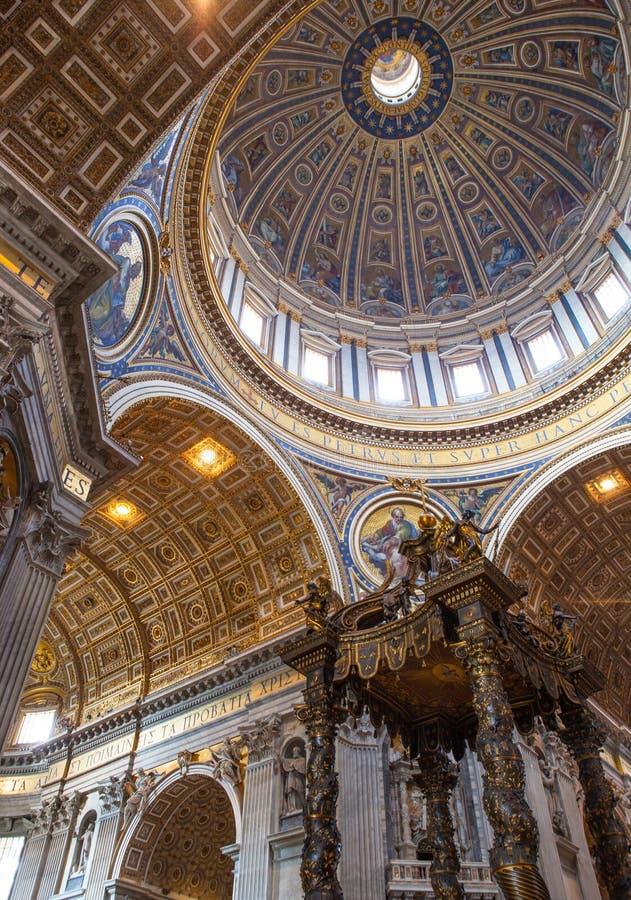 St. Peter& x27;s Basilica - Vatican City, Rome, Italy. Dome in St. Peter& x27;s Basilica and Bernini& x27;s Baldacchino - Vatican City, Rome, Italy stock image