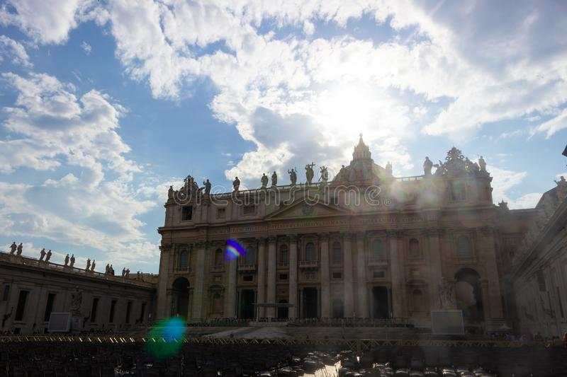 St. Peter`s Basilica Vatican City, Rome, Italy. Sunny day stock images