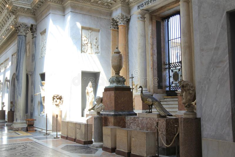 St. Peter`s Basilica in Vatican City. The Vatican art Museum rooms. Rome, Italy stock image