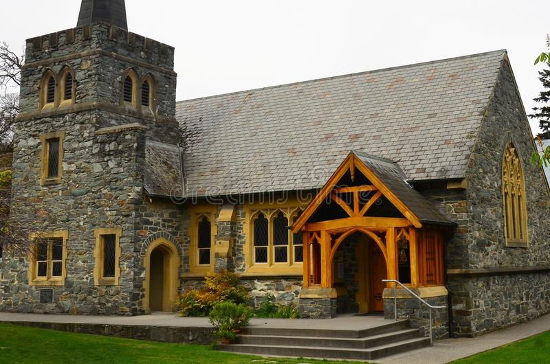 Historic St Peter`s Church Queenstown, New Zealand. Historical St Peter`s Church built 1863 from local Otago Schiste rock near lake wakatipu, Queenstown royalty free stock photo