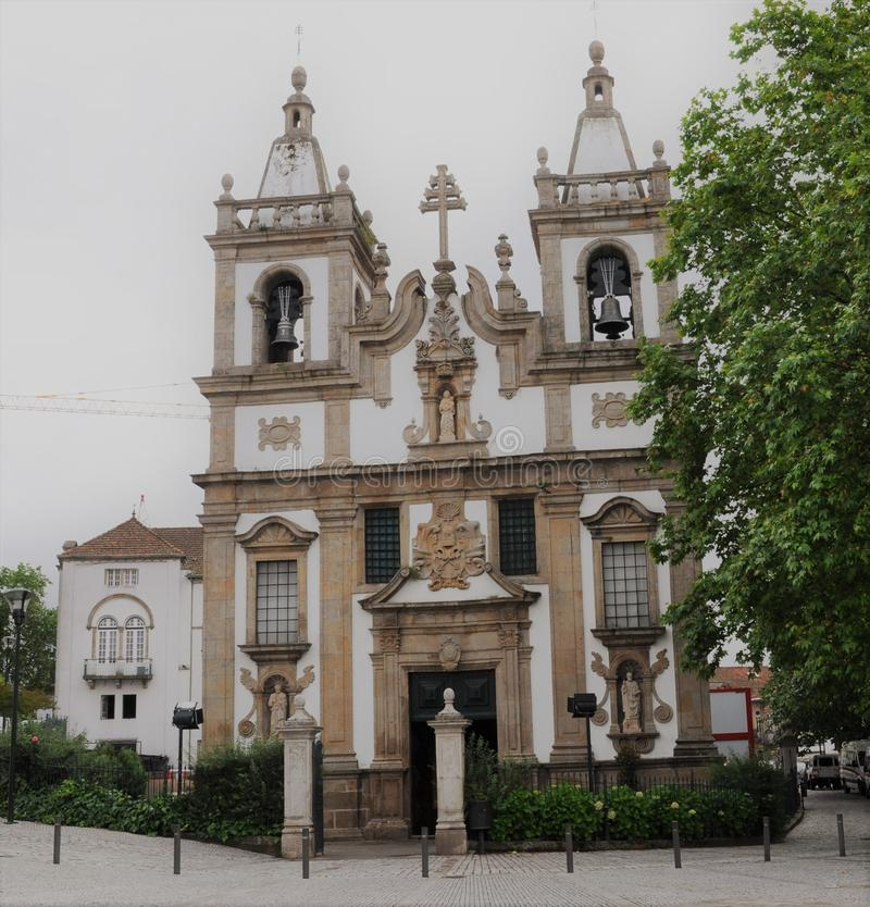 St. Peter`s Church - Vila Real - Portugal. The Facade of St. Peter`s Church, bells and towers - June 2010 - Vila Real - Portugal royalty free stock image