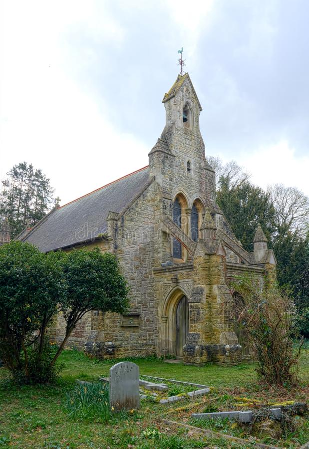 St Peters Church, Holtye, Sussex, UK. Closed for worship. St Peter`s church was built in 1892 by Lacy W. Ridge in the Perpendicular style. There is a small bell royalty free stock images