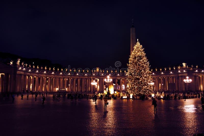 St- Peter` s Quadrat mit enormem Weihnachtsbaum auf einer Dezember-Nacht Warme Töne stockfotos