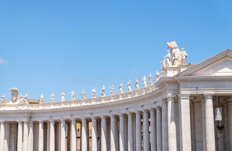 St. Peter`s Square colonnades. Doric colonnades, four columns deep in St. Peter`s Square, Vatican royalty free stock photo