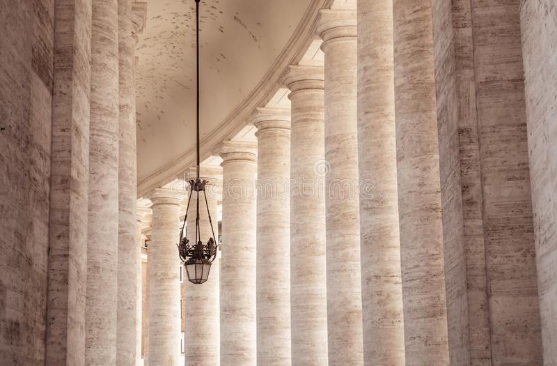 St. Peter`s Square colonnades. Doric colonnades, four columns deep in St. Peter`s Square, Vatican royalty free stock images