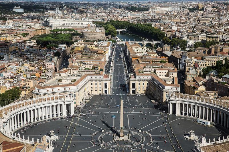 St. Peter`s Square, Piazza San Pietro in Vatican City . Italy. View from St. Peter`s Basilica dome stock photography