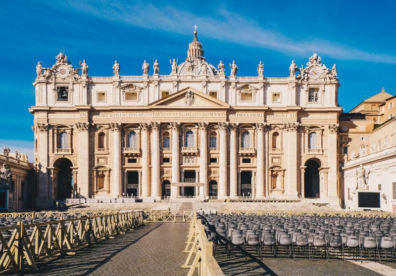 St. Peter's square and Saint Peter's Basilica in the Vatican Cit stock photo