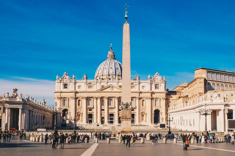 St. Peter's square and Saint Peter's Basilica in the Vatican Cit royalty free stock photos