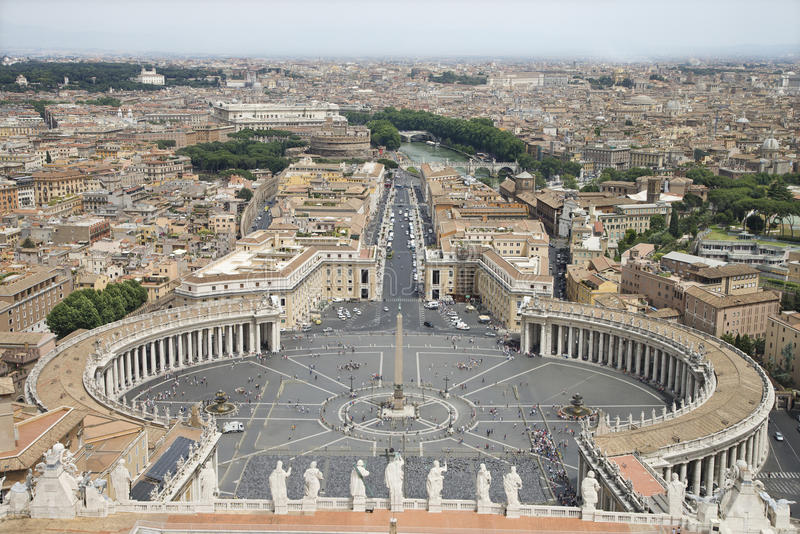 St Peter's Square and Vatican City. High angle view of St Peter's Square with skyline of Vatican City in the background. Horizontal shot royalty free stock photos