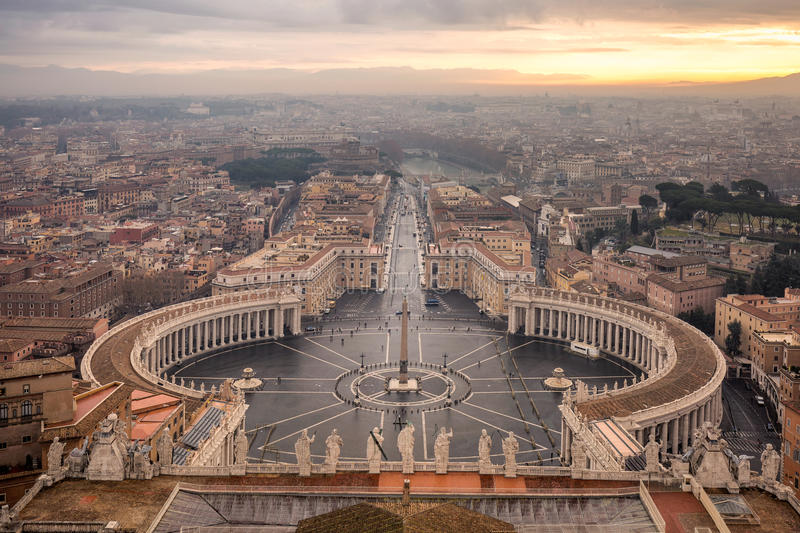 St. Peter`s square. In Vatican city view from St. Peter`s Basilica`s dome royalty free stock photo