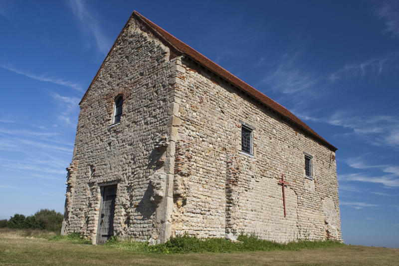 St Peters-on-the-Wall Chapel, Bradwell-on-Sea, Essex, England. Set on the site of the Roman fotress of Othona stock photo