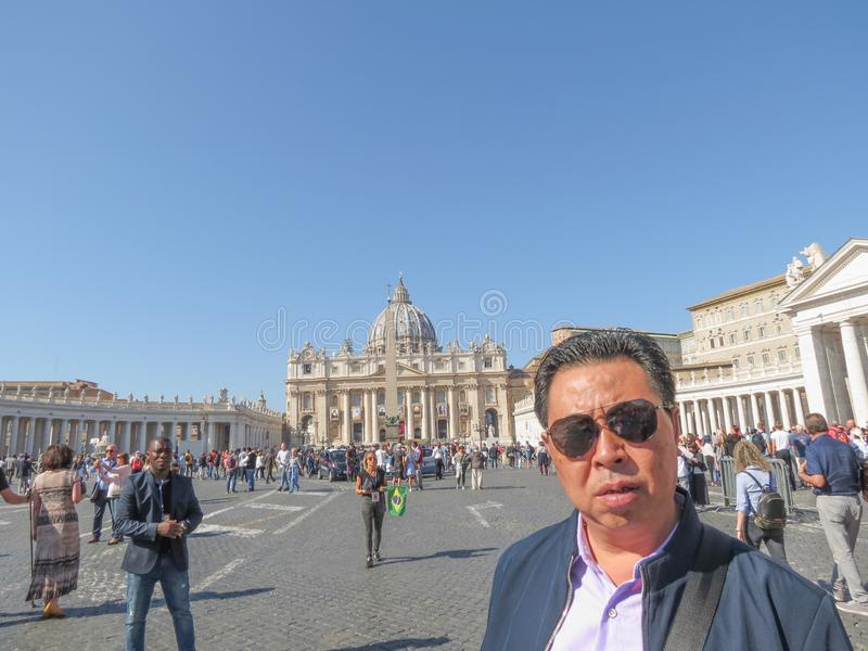 St Peter Square Piazza San Pietro in Vatican City. VATICAN CITY, ROME, VATICAN CITY STATE - CIRCA OCTOBER 2018: St Peter`s Square Piazza San Pietro with Asian royalty free stock photo