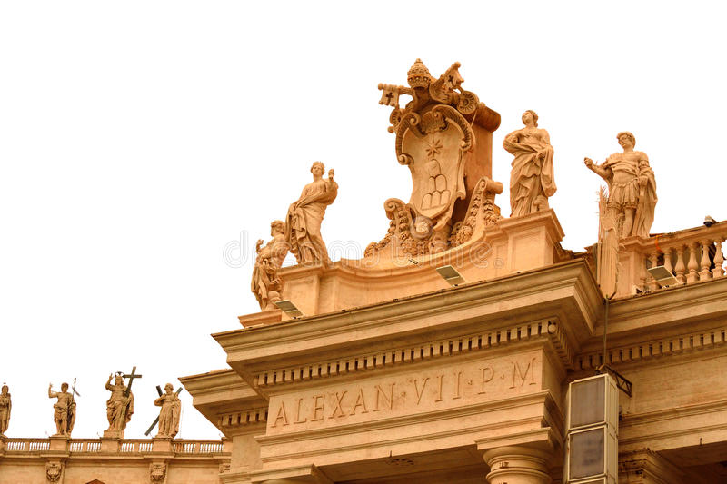 St. Peter square saints statues Vatican royalty free stock photo