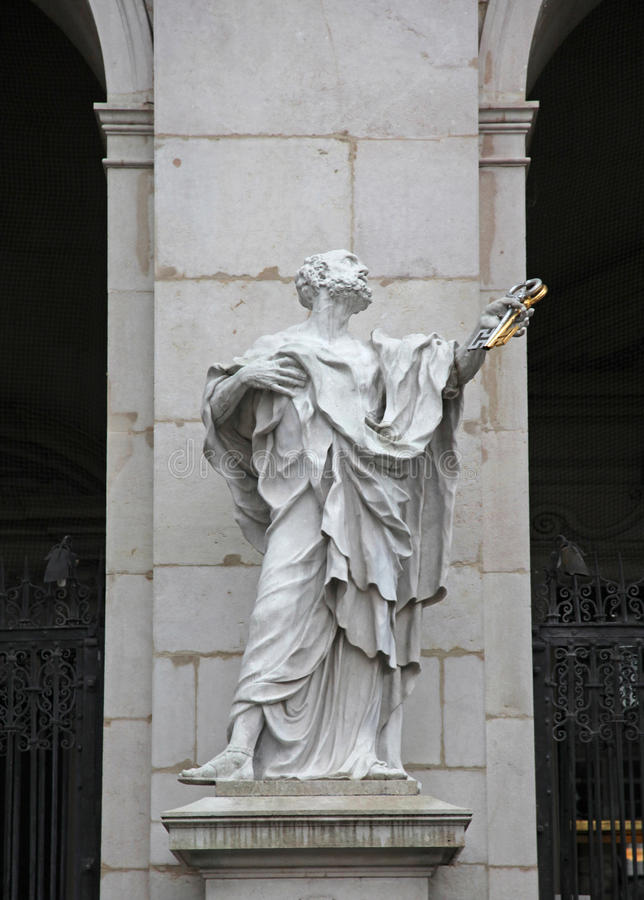 St. Peter statue at Salzburg Cathedral, Austria. stock image
