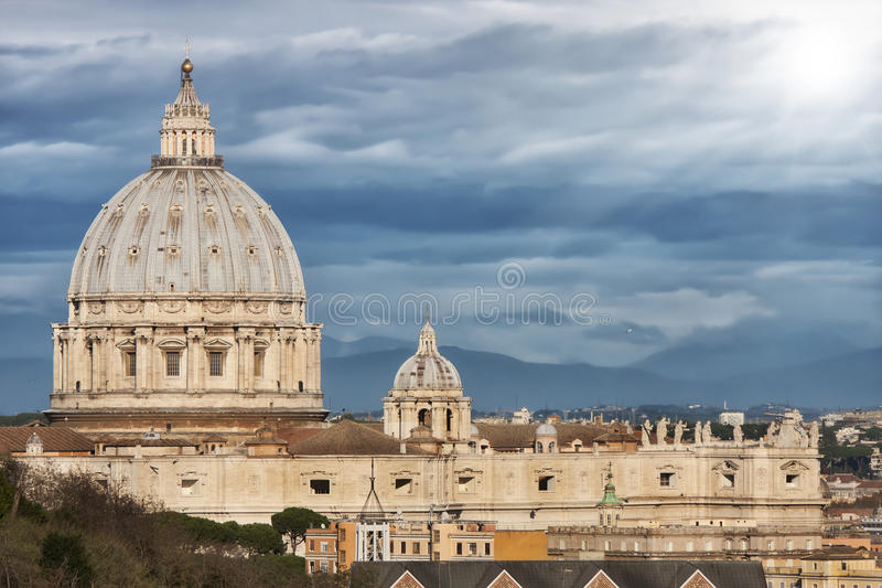 St. Peter (Vatican City, Rome - Italy). Clouds and sunlight stock photography