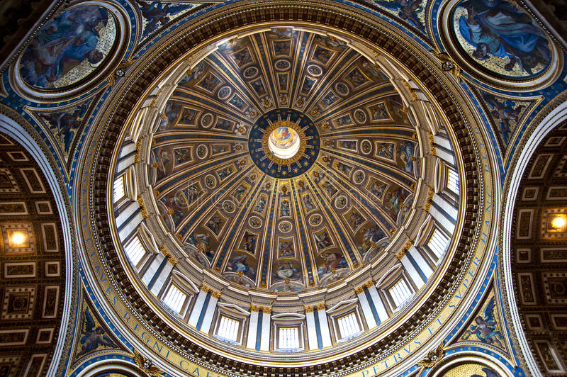 St. Peters Basilica Dome. St. Peters Basilica (Rome, Italy stock photo