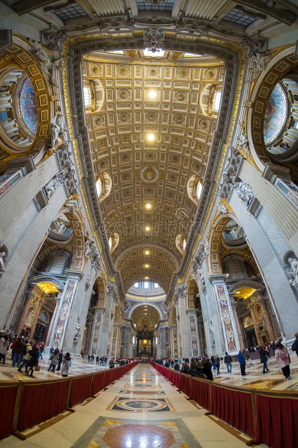 St. Peters Basilica interior in Rome, Italy stock photos