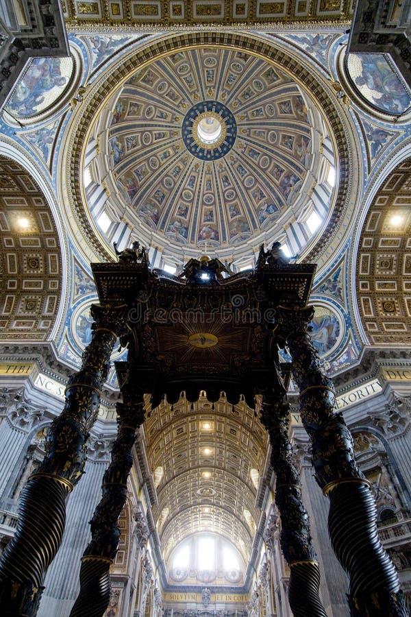 St. Peters Basilica (Rome, Italy). St. Peters Basilica Inside, Bernini's Baldacchino. Rome Italy royalty free stock photography