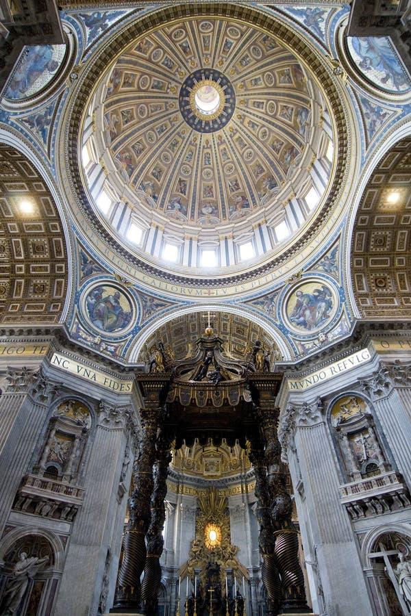 St. Peters Basilica (Rome, Italy). St. Peters Basilica Inside, Bernini's Baldacchino. Rome Italy stock image